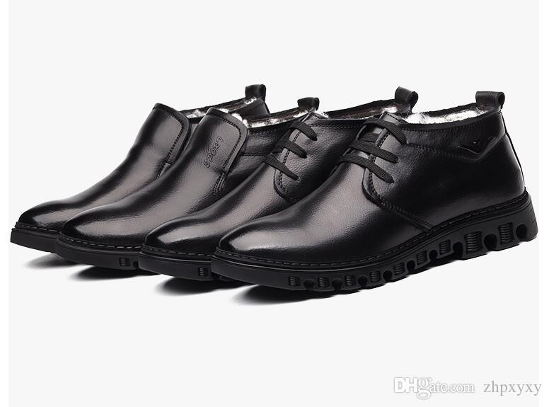 Männer echtes Leder Winterstiefel Warm Wolle Snows Pelz Ankle Boots für Männer Geschäfts-Kleid-Schuh-Männer DA044