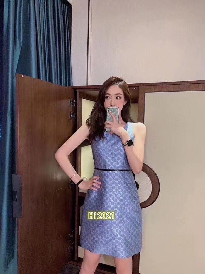 편지 자카드 크루 넥 벨트 2020 패션 고급스러운 디자인 느슨한 드레스 라인 스커트를 allover 하이 엔드 여성 여자 캐주얼 민소매 드레스