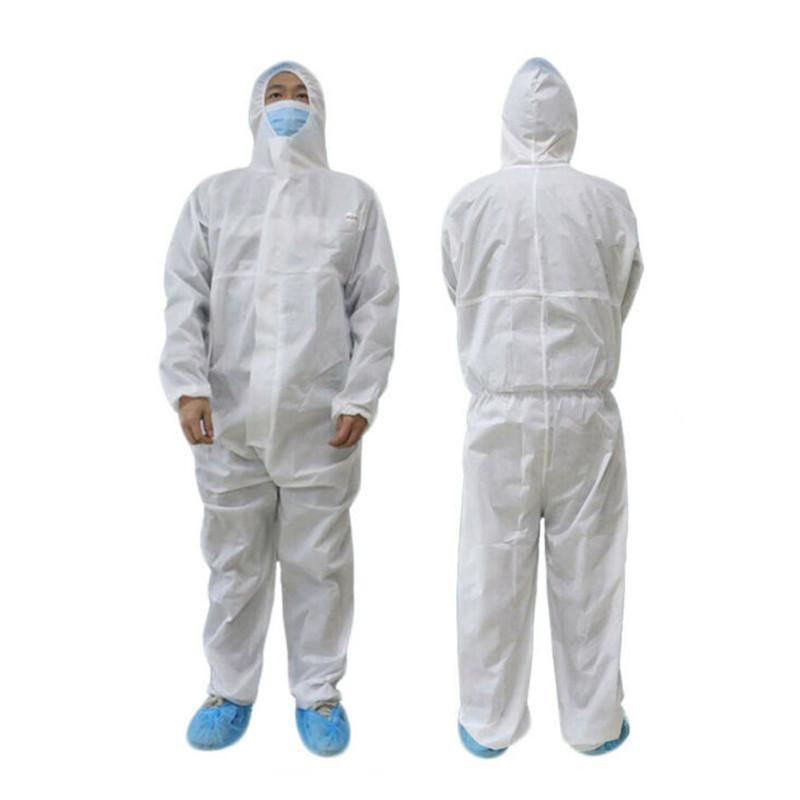 White Coverall Hazmat Suit Protection Protective Disposable Anti -static Clothing Disposable Factory Safety Clothing In Stock Size L-2XL