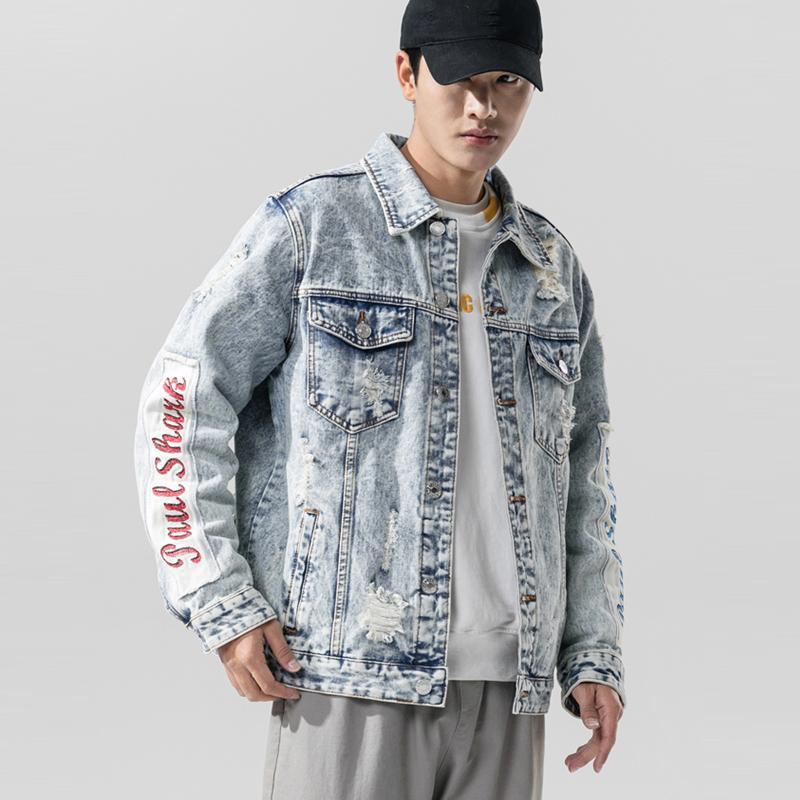 2020 Automne Nouveau en jean délavé blanc Homme Veste Slim Fit Coton Denim Veste chaulé Ripped Trou Jean Manteaux Manteaux Hommes Taille Plus 5XL