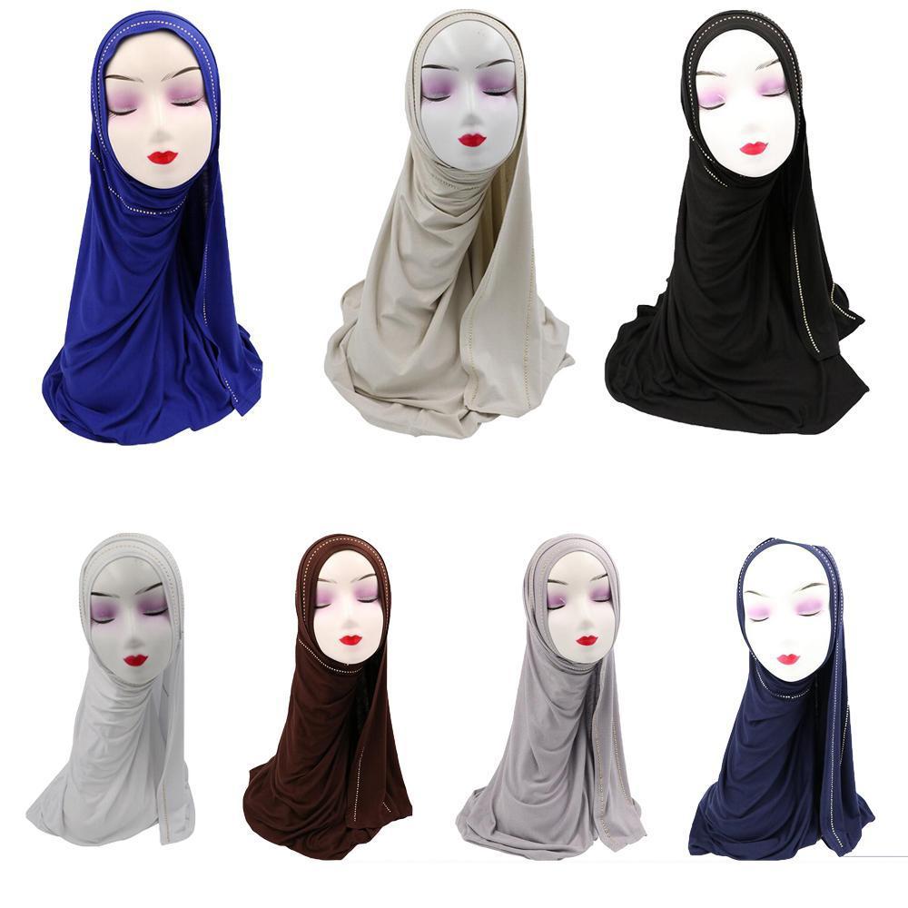 Muslim Women Studs Rhinestone Jersey Hijab Scarf Shawl Head Wrap Islamic Headcover Long Scarf Arab Turban Soft Stole Middle East