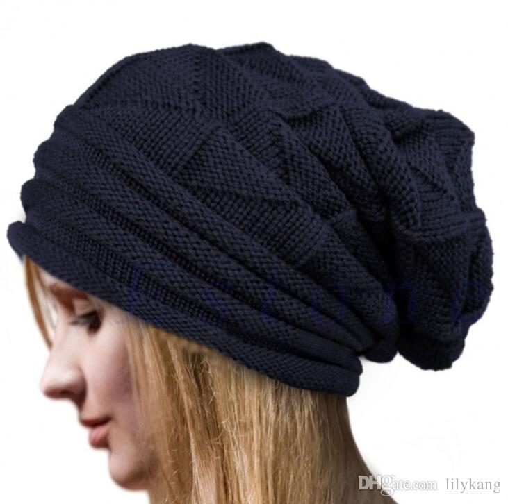 محبوك قبعات الشتاء الدافئ القبعات للرجال النساء الفضفاضة skullies بيني النساء القبعات مترهل شيك قبعات متماسكة الصوف قبعة هود