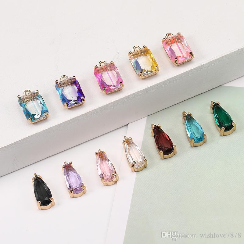 Yeni Renkli K9 Kristal Waterdrop Kare Kolye Takı Yapımı Için DIY Küpe Kolye Moda Charms Takı Aksesuarları