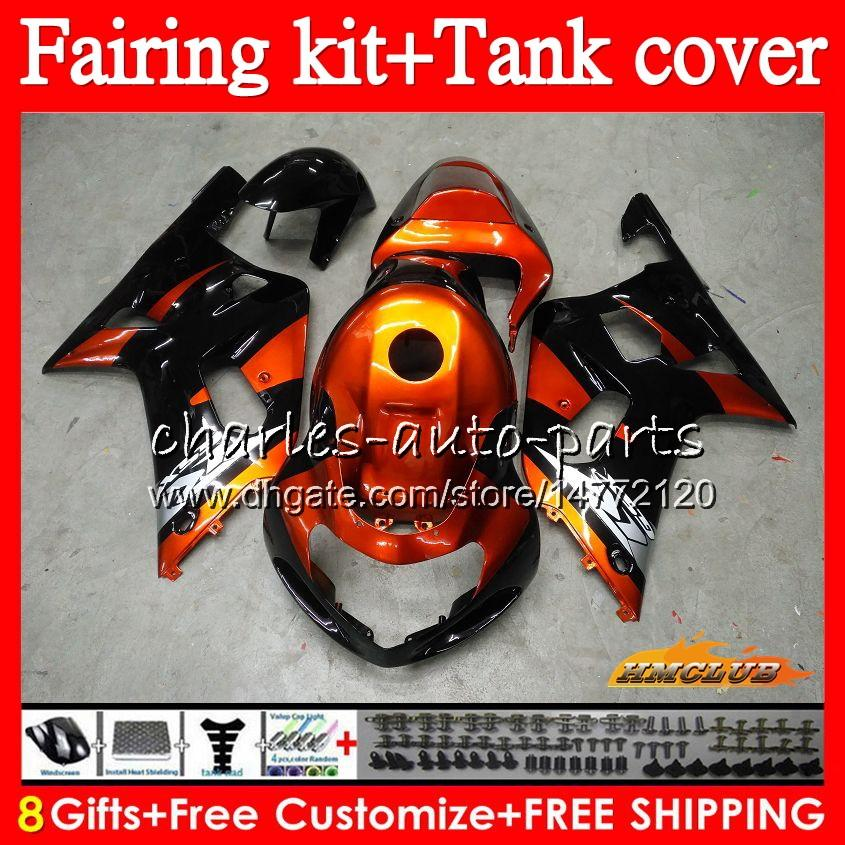 Body +Tank For SUZUKI GSXR-600 K1 GSX-R750 GSXR600 01 02 03 65HC.0 GSXR 600 750 CC GSX R750 GSXR750 2001 2002 2003 Fairing kit Orange black