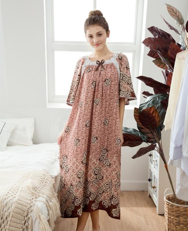 2020 Женщины с коротким рукавом Nightgown Sexy Print Цветок Лонг Ночное платье Питание Свободные кружева Хлопковое белье Ночное платье XL ISQPM