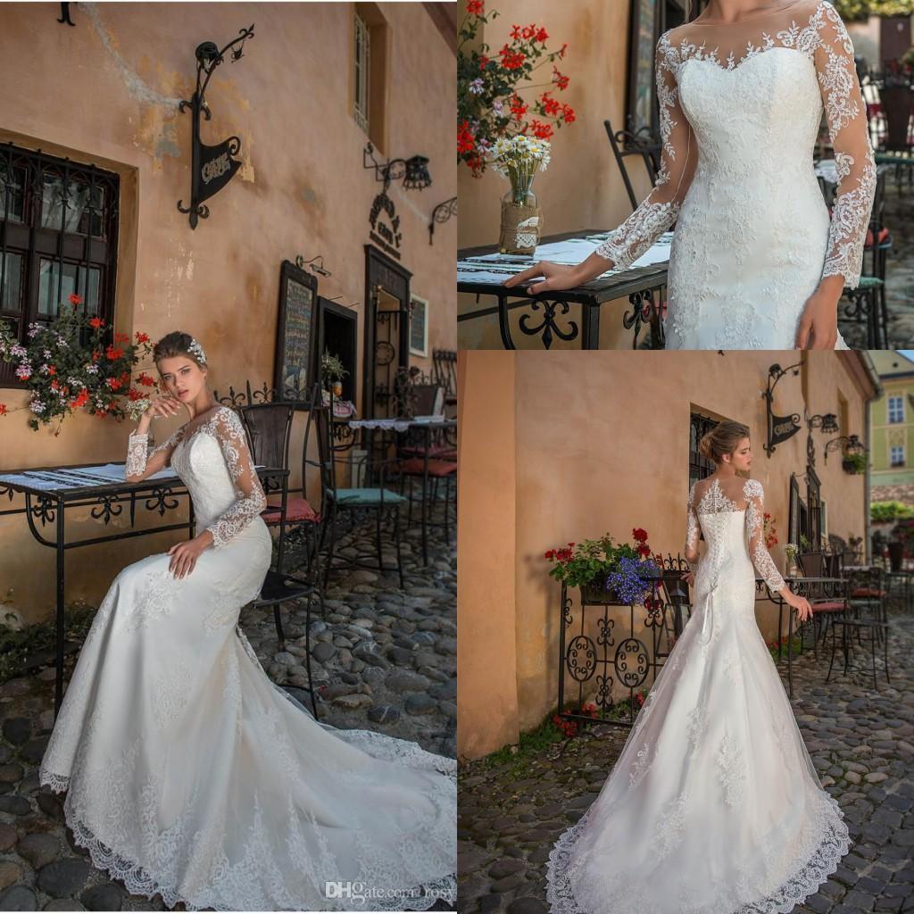 Elegante Sexy Sereia Vestidos De Casamento Ilusão Jóia Pescoço Laço Applique Manga Longa Robe de Mariage Tulle Vestido De Noiva Vestidos De Nupcial Vestidos