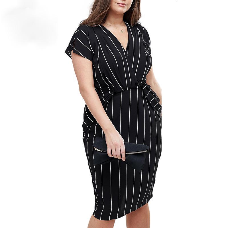 Taille Plus Femmes d'été à rayures verticales Wrap col en V Ruffles manches courtes moulante bureau Lady Midi Dress