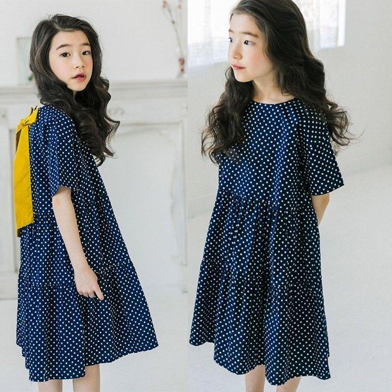 La ragazza in vestiti casuali dell'estate delle ragazze dell'estate del cotone di Cenerentola della ragazza del vestito dai vestiti della linea della moda della figlia del bambino blu