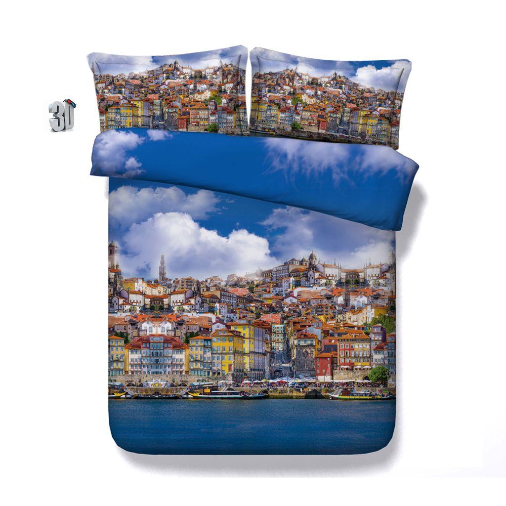 150x200CM 3PCS 3D Seaside city Print Duvet Cover Set Bedding with pillowcase, Microfiber Quilt Cover, Zipper Closure, NO Comforter