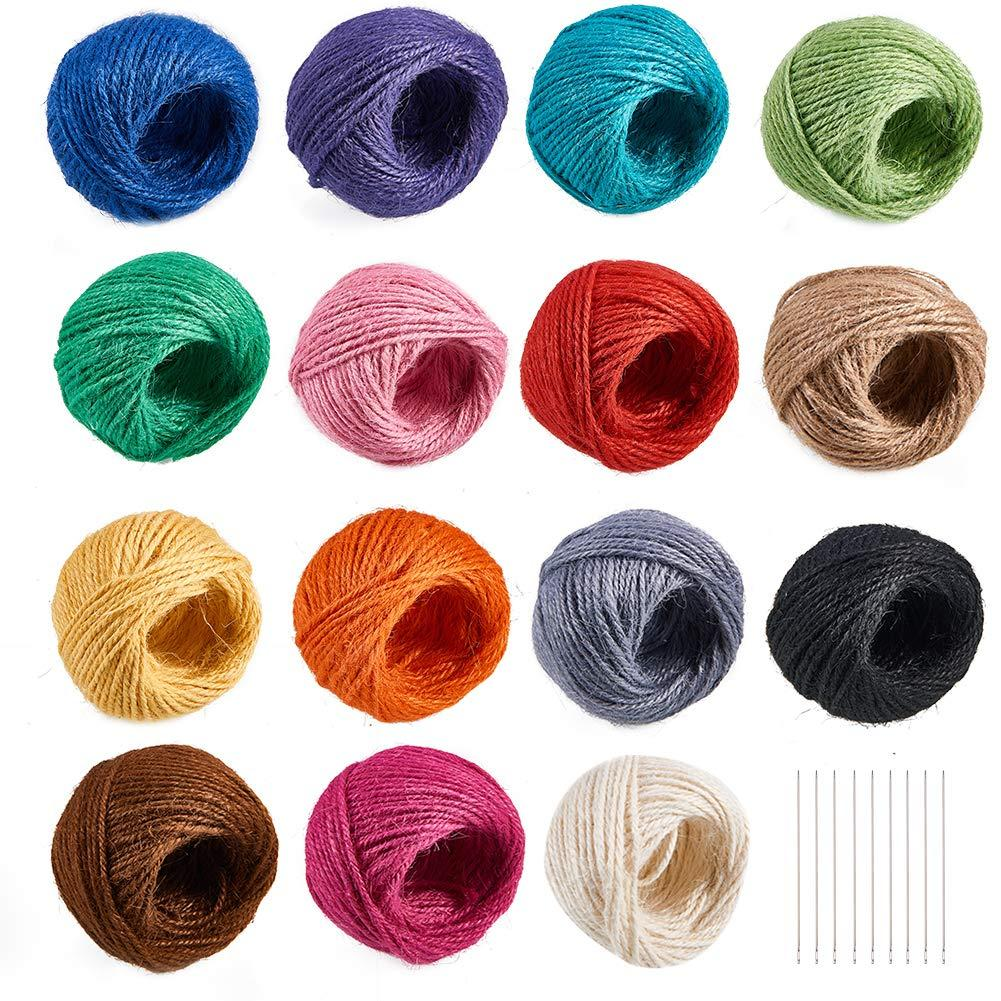ZYAMY 12 Colors 2mm Color Hemp Rope Nature Jute Twine Burlap String Family Gift Wrapping Rope
