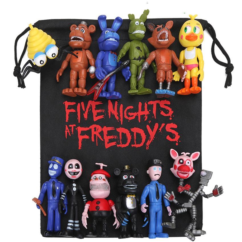 Novo 13 pçs / lote Fnaf Pvc Figuras de Ação Com Saco de Presente 10-11.5 cm Cinco Noites No Freddy Freddy Fazbear Foxy Bonecas Brinquedos Brinqudoes Y19062901
