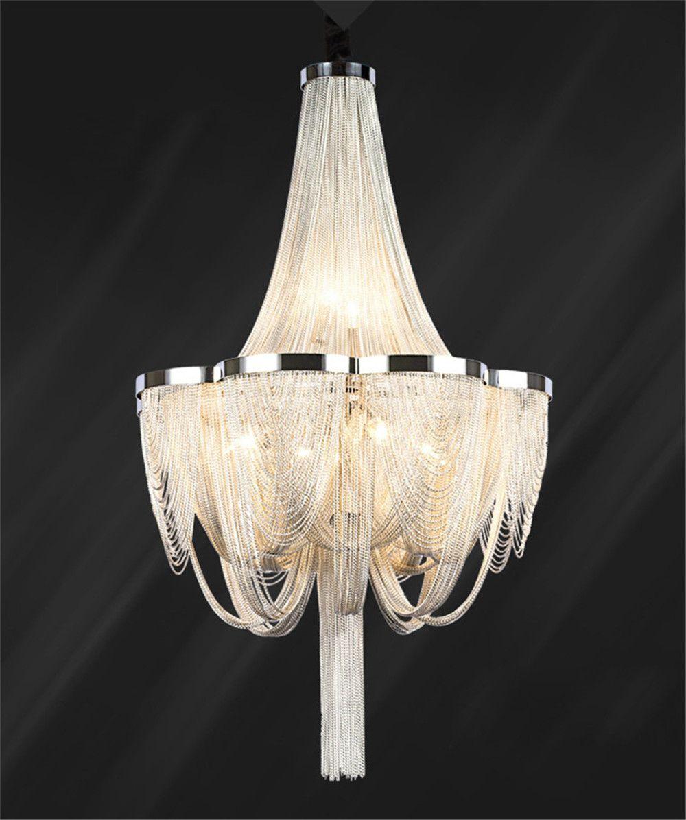 Современные светодиодные лампы Висячие ручной Водопад Люстра Алюминиевая цепи кисточкой подвеска лампа Home Decor Крепеж PA0028