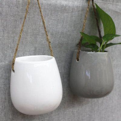 Ceramics Hanging Planter Flower Pot Succulent Air Plant Flower Pot Cactus Bonsai Indoor Outdoor Wall Decoration