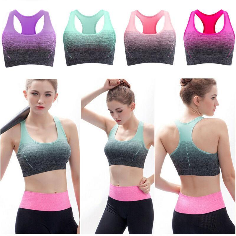 Mulheres Senhoras Sports Correndo Bra Top Curto Vest estiramento Bras Shaper acolchoado de Fitness Sports Bra estiramento Workout culturas