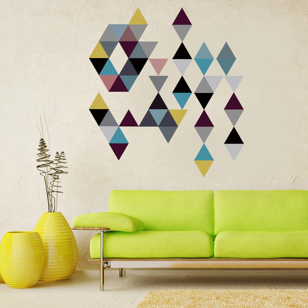 45pcs/set Cartoon Colorful Triangles Wall Sticker For Kids Baby Rooms Nursery Poster Home Decor Self-adhesive DIY PVC Art Mural