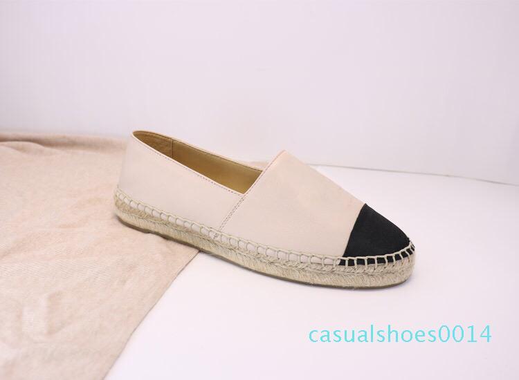 Espadrilles Damen Designer-beiläufige Schuh-Luxus-Leder-Slip-On-Plattform-Schuhe Männer Espadrilles Sandalen mit Kasten-Größe 34--42 C14