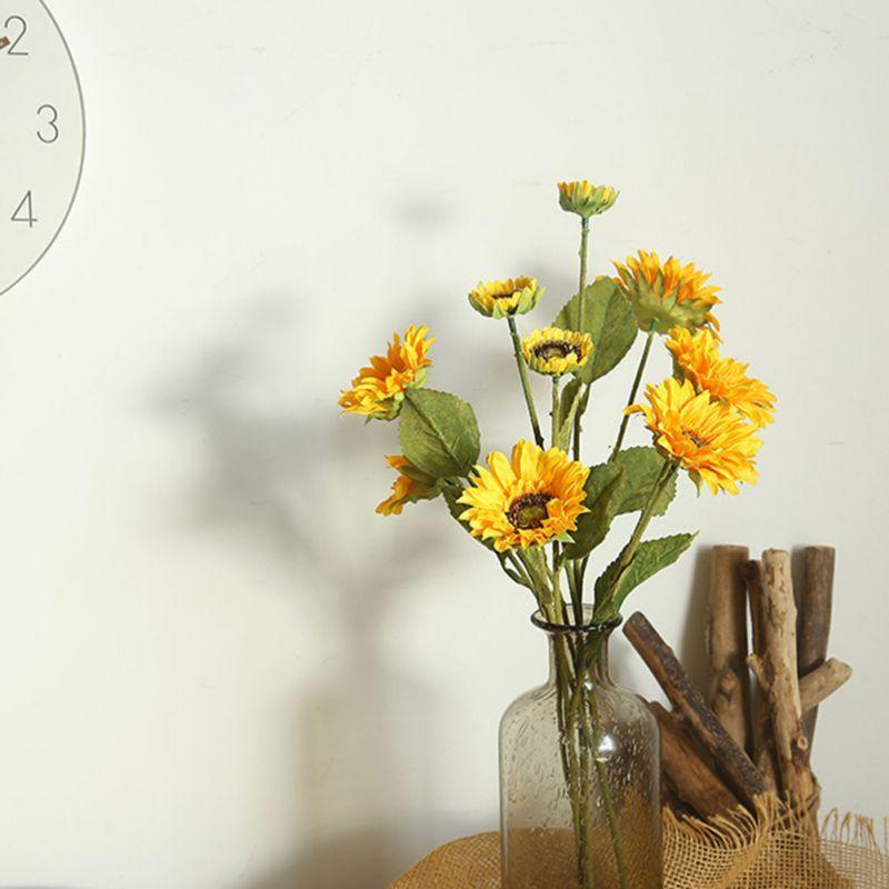 DIY amarelo Artificial Flower Sunflower Bouquet Casamento Casa Vaso Decor 1pc