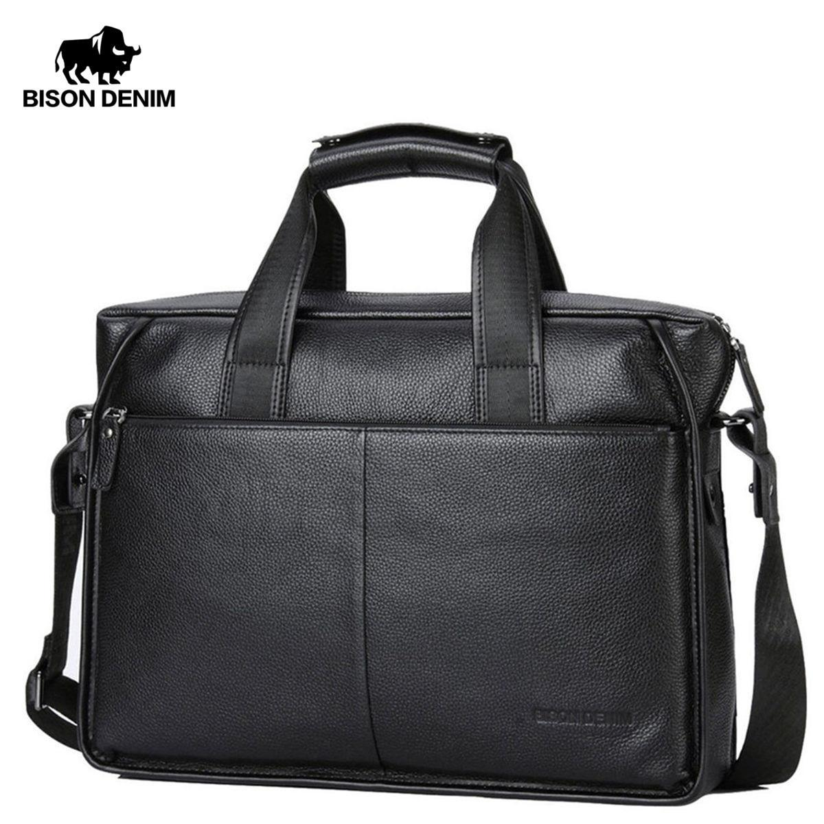 Bison Denim Echtes Leder Garantie Aktentasche Männer Tasche 14 Zoll Laptop Weiche Rindsleder Umhängetasche Handtasche Tasche Business N2237-3 J190721