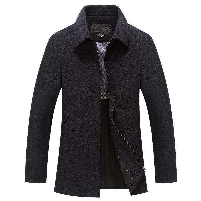 Nice Tide Men Winter Wool Coat Casual Slim Fit Autumn Fashion Square Collar Warm Outerwear Woolen Jacket Men Overcoat Pea Coat