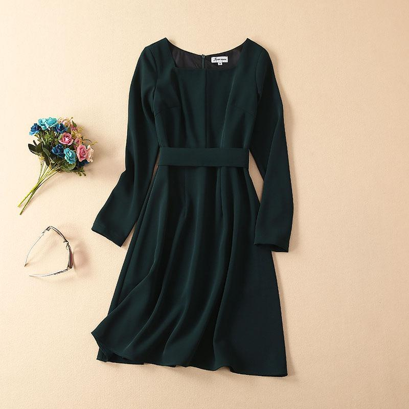 2019 Summer Fall Long Sleeve Crew Neck Pure Color With Sash Knee-Length Dress Luxury OL Runway Dresses JN241334A617