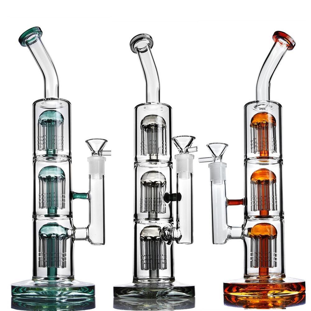 12,9 bong grand arbre Maxi bras perc accessoires fumer bangs eau en verre plates-formes de dab capiteux pipes en verre avec un bol de 14mm
