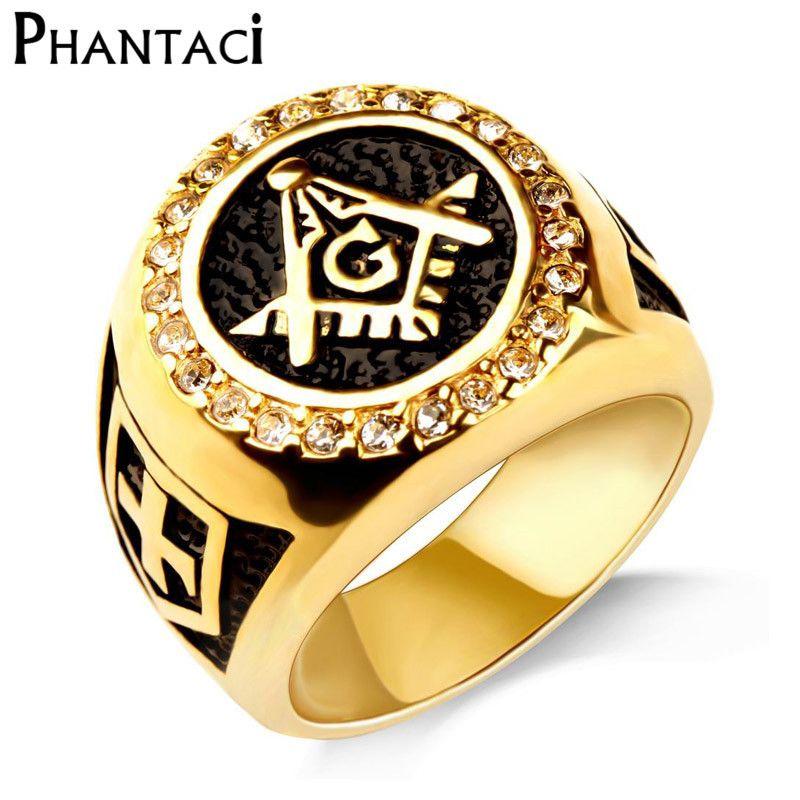 AG Stainless Steel Ring Men Vintage Gold Color Male Hiphop Rock Man Rings Retro Free Mason Freemasonry Masonic Punk Jewelry