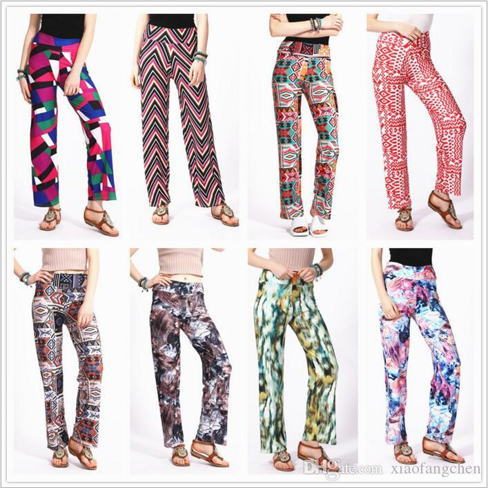 Ladies Printed Baggy High Waisted Plazzo Wide Leg Flared Trouser Women Plus Size