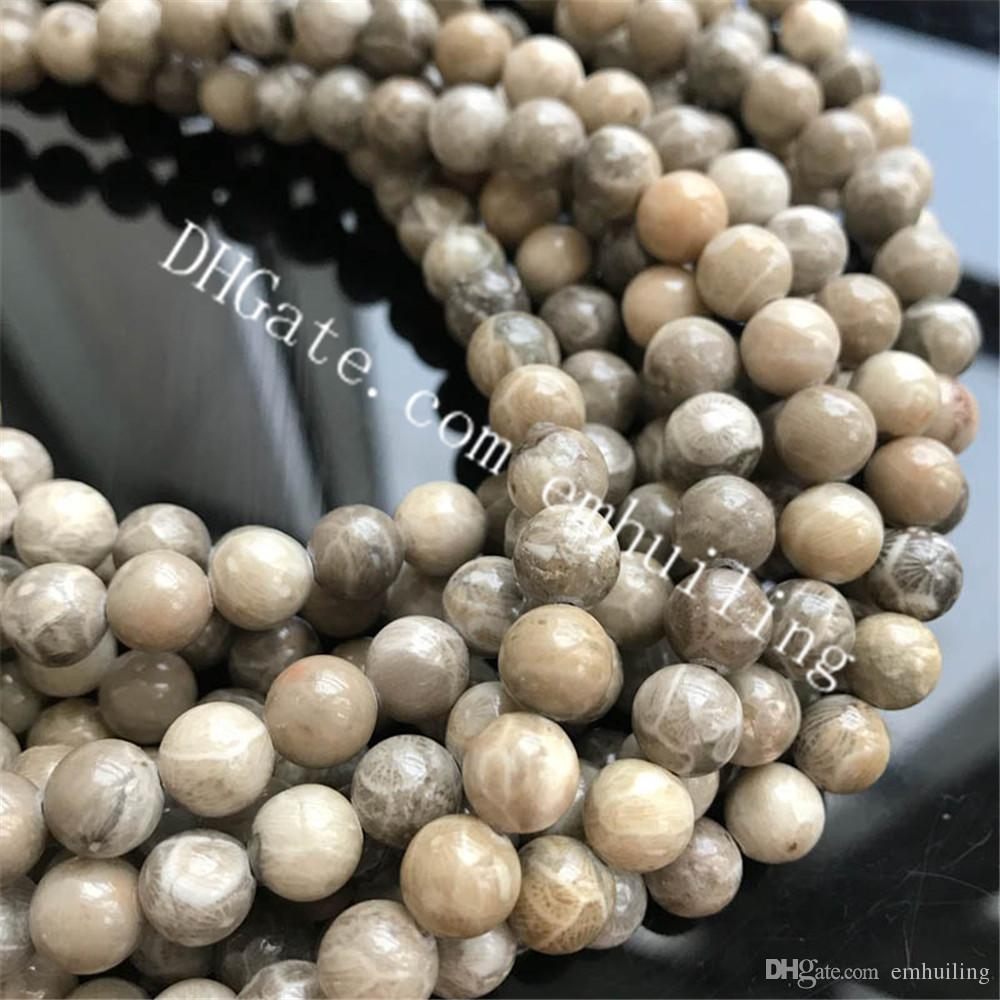 10 Strands 6mm 8mm Natural Chrysanthemum Coral Fossil Jade Stone Beads Genuine Fossilized Coral Jasper Gemstone Loose Beads Round Smooth
