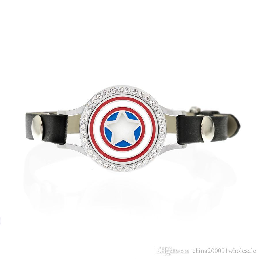 WK10 25mm médaillon d'aromathérapie avec bracelet en cristaux Médaillon pour parfum avec bande en cuir noir PU Diffuseur avec médaillon Bracele Gratuit 10pads