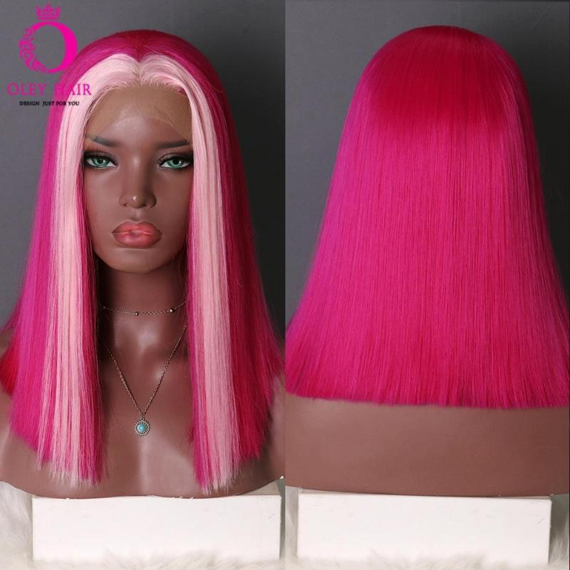 OLEY Pink Bob Glueless Synthetic Lace Frontal Wig Heat Resistant Cospaly Wig For Black Women