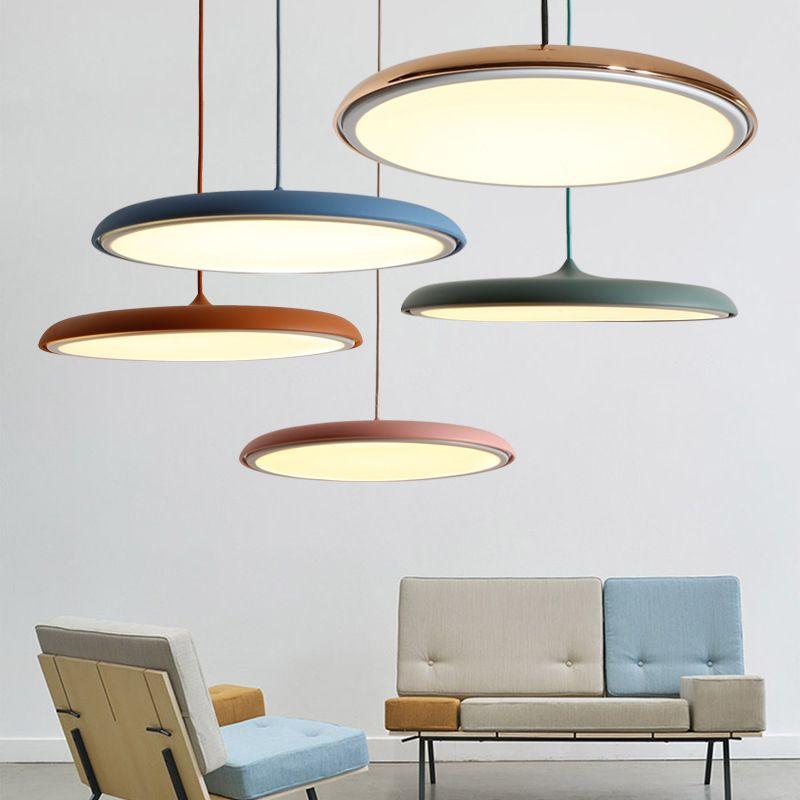 현대 muti 컬러 디스크 접시 LED 펜던트 램프 식당 조명 장식물 장식 금속 침실에 매달려 램프