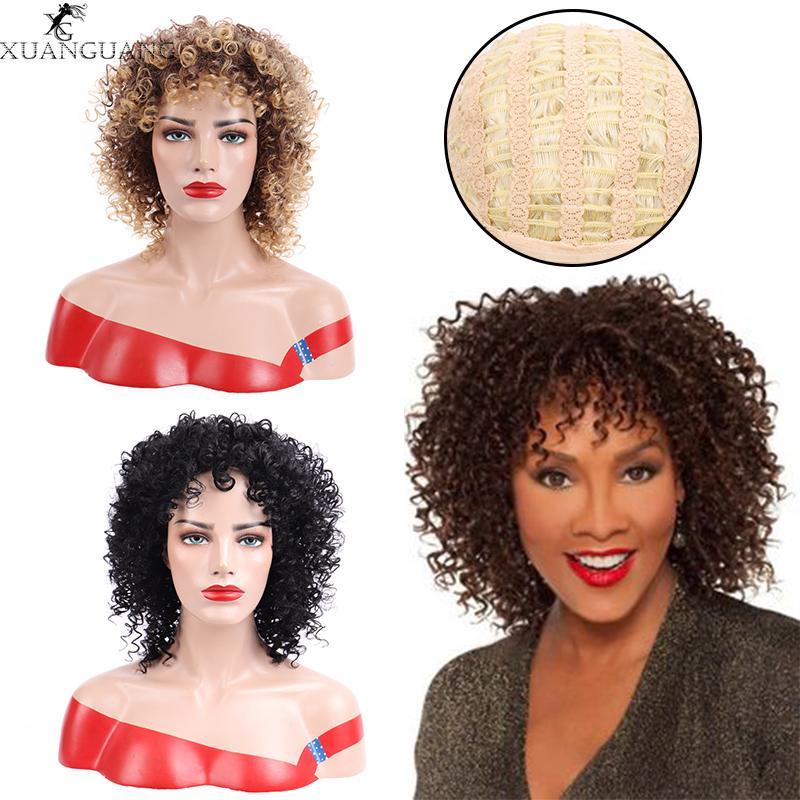 XUANGUANG 14 pulgadas Peinado africano corto peluca rizada Para el pelo sintético Negro Mujeres
