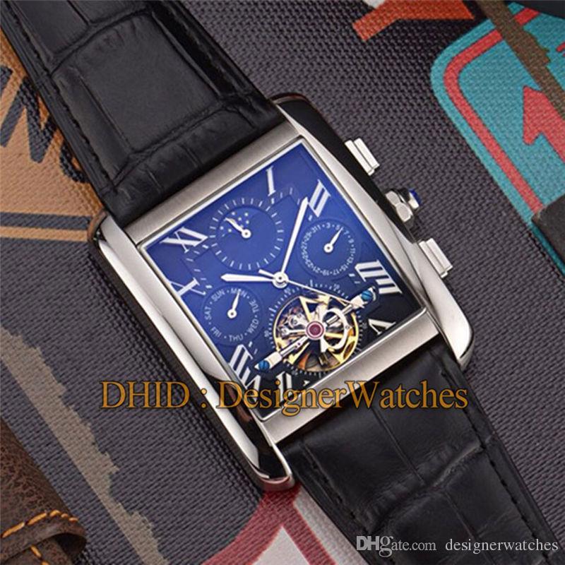 Clássico Mens Relógios Quadrados Pulseira De Couro De Aço 316L Relógios De Pulso Movimento Automático Homem Relógio À Prova D 'Água de Moda de luxo mens relógios