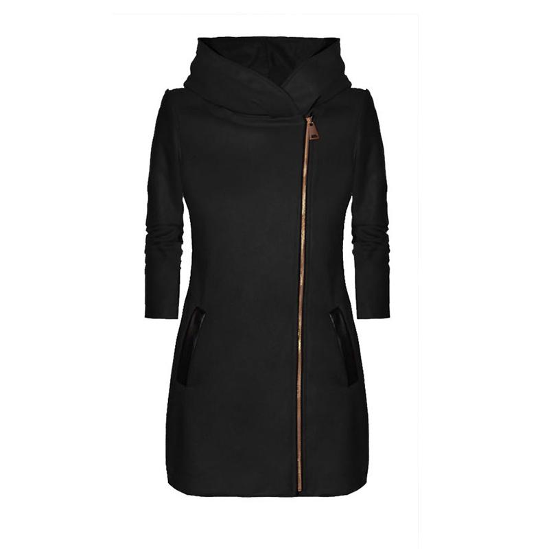 Duzeala Automne Femmes capuche manches longues veste chaude Outwear poche zippée Veste Basic Vendu hiver Pardessus dropshipping Y200101