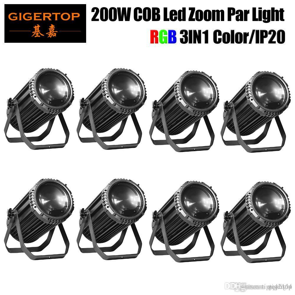 Preço com desconto de 8 unidades 200W RGB COB Led Zoom Par Não ventilador de resfriamento sem ruído Potência Em OUT DMX / Som / Auto / Controle Manual
