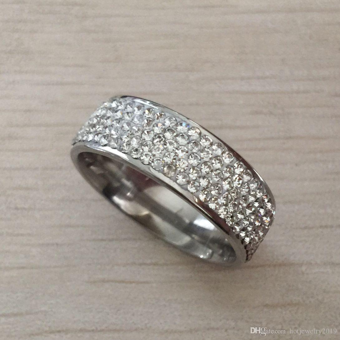 Top Quality 925 Argent rempli Autriche Cubic Zircon Diamant Anneaux de mariage pour femme en acier inoxydable Anillos Anel