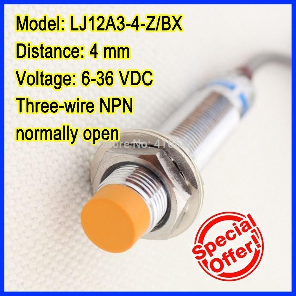 Frete grátis GENUÍNA LJ12A3-4-Z / BX 4mm interruptor de proximidade indutivo de três fios NPN normalmente aberto