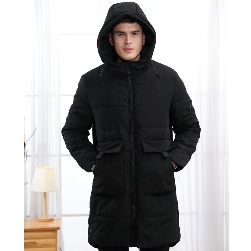 Chaqueta Boollili otoño invierno Parka hombres largos de la capa media coreana gruesa Negro con capucha de invierno chaquetas para hombre Winterjas Heren