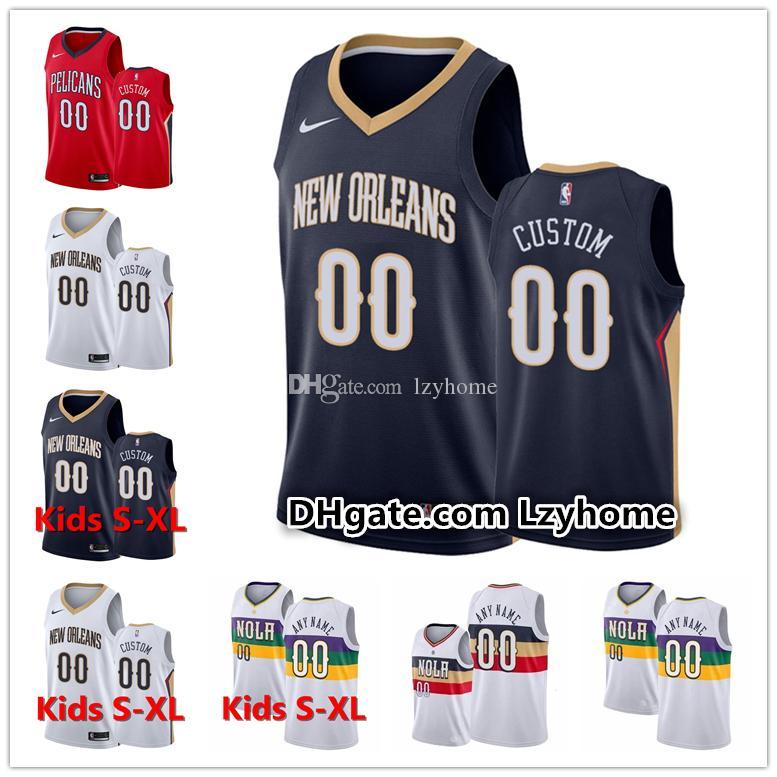 2019 Custom Mens Youth Neworleanspelicans Lonzo 2 Ball Brandon 14 Ingram Jrue 11 Holiday 4 Redick Zion 1 Williamson Basketball Jerseys From Lzyhome