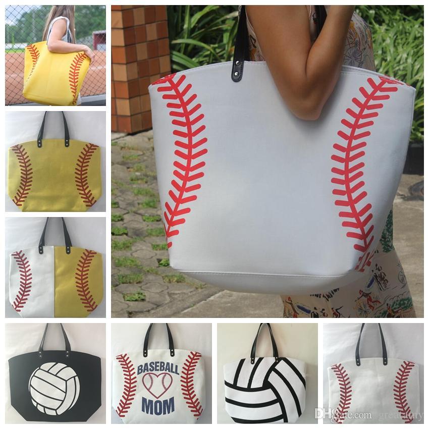21 تصاميم حقائب اليد أكياس كرة القدم البيضاء البيسبول خياطة الرياضة تجميل أمي فتاة القطن قماش الكرة الطائرة حقيبة جديدة الأزياء الهدايا