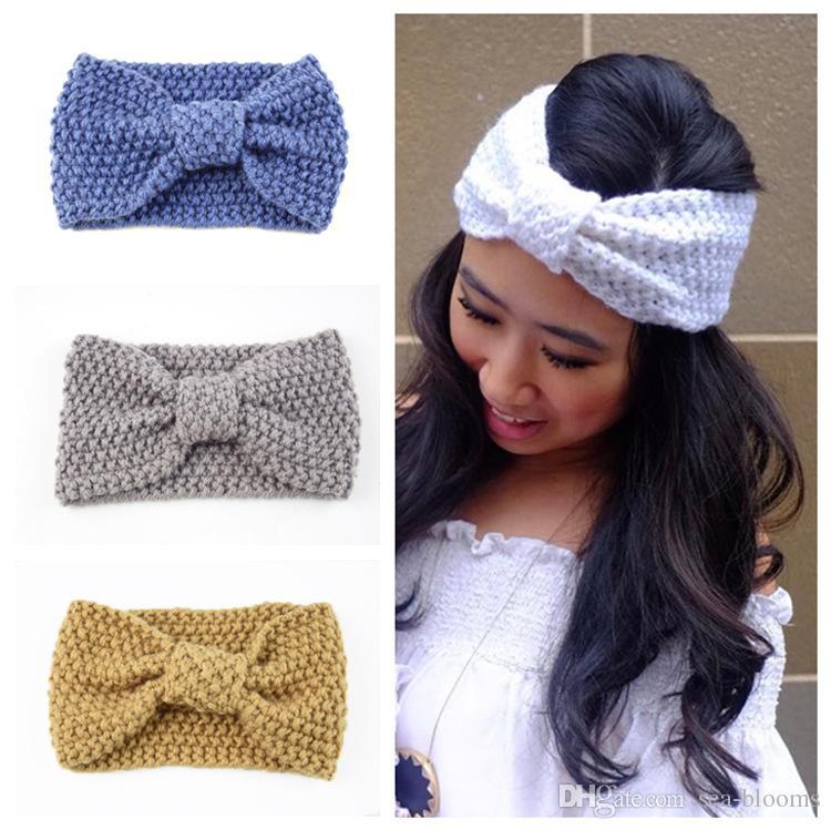 New Women Lady Sports Hairband Corn Grain Bow Knitted Wool Hair Band Ear Warmer Headband Hair Accessories Support FBA Drop Shipping M23F