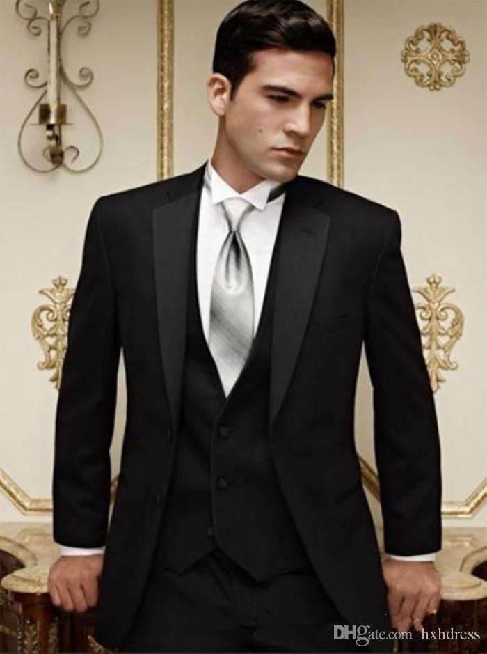 وصول جديدة زرين الأسود العريس البدلات الرسمية الشق التلبيب أفضل رجل وصيف الرجال بذلات الزفاف العريس (سترة + سروال + سترة) XZ3