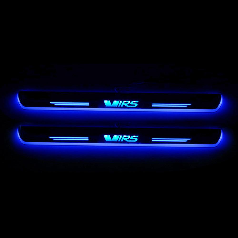 Moving LED Welcome Pedal Car Scuff Plate Pedal Door Sill Pathway Light For Skoda Octavia VRS 2012 - 2019