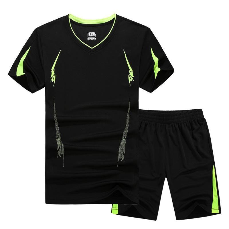 بدلة رجالية تعيين الرياضية قصير كم قميص تي شورت اثنين من قطعة مجموعة جرزاية السريع تجفيف رياضية ملابس رياضية للرجال زائد الحجم KAWAII