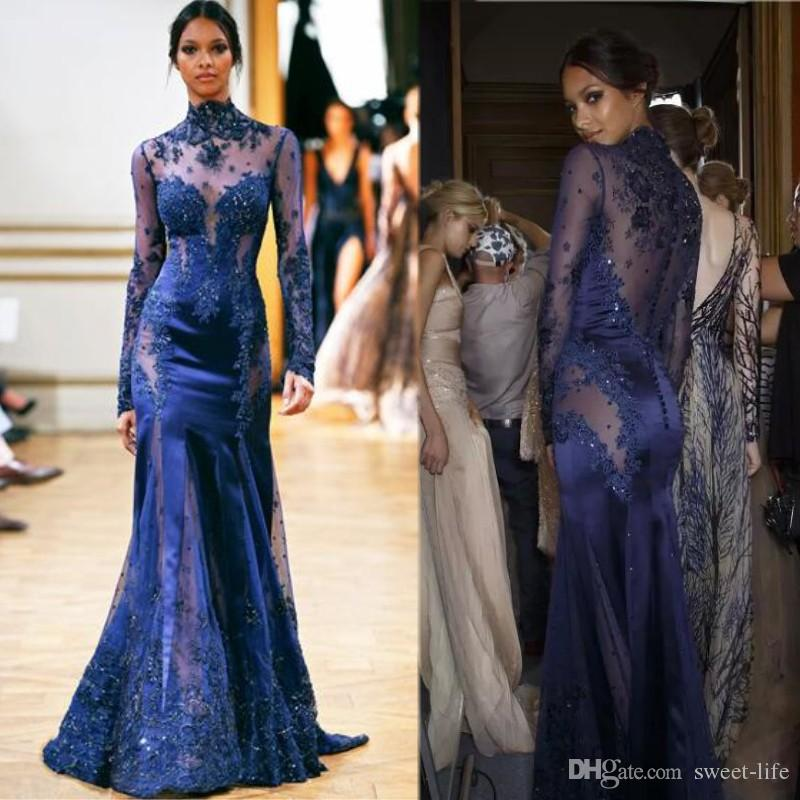 Navy Blue Zuhair Murad Lace Formal Evening Dresses Long Sleeves See Through Mermaid Appliques Prom Celebrity Dress Sexy robes de soirée
