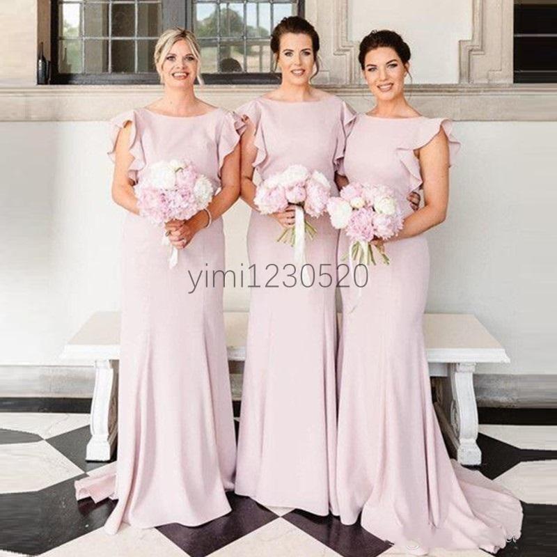 Pink Ruffles Mermaid Bridesmaid Dresses Bateau Backless Sweep Train Garden Country Beach Wedding Guest Gowns robes de demoiselle d'honneur