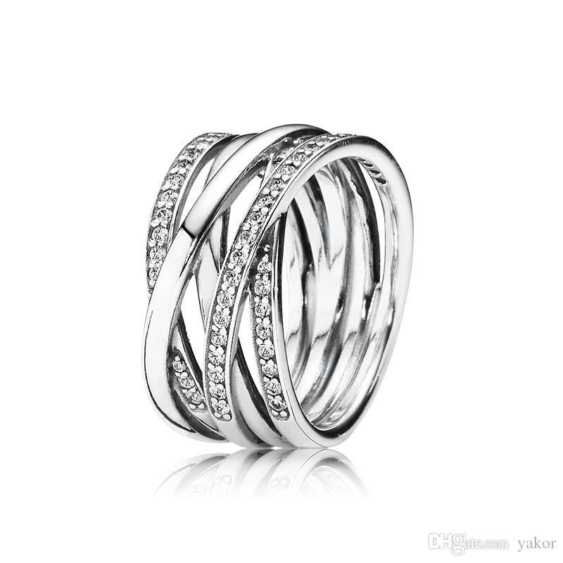 NEW 925 Sterling Silver Women Wedding RING Logo Original Box for Pandora 18K Rose gold CZ Diamond Rings Set Girls Gift Jewelry