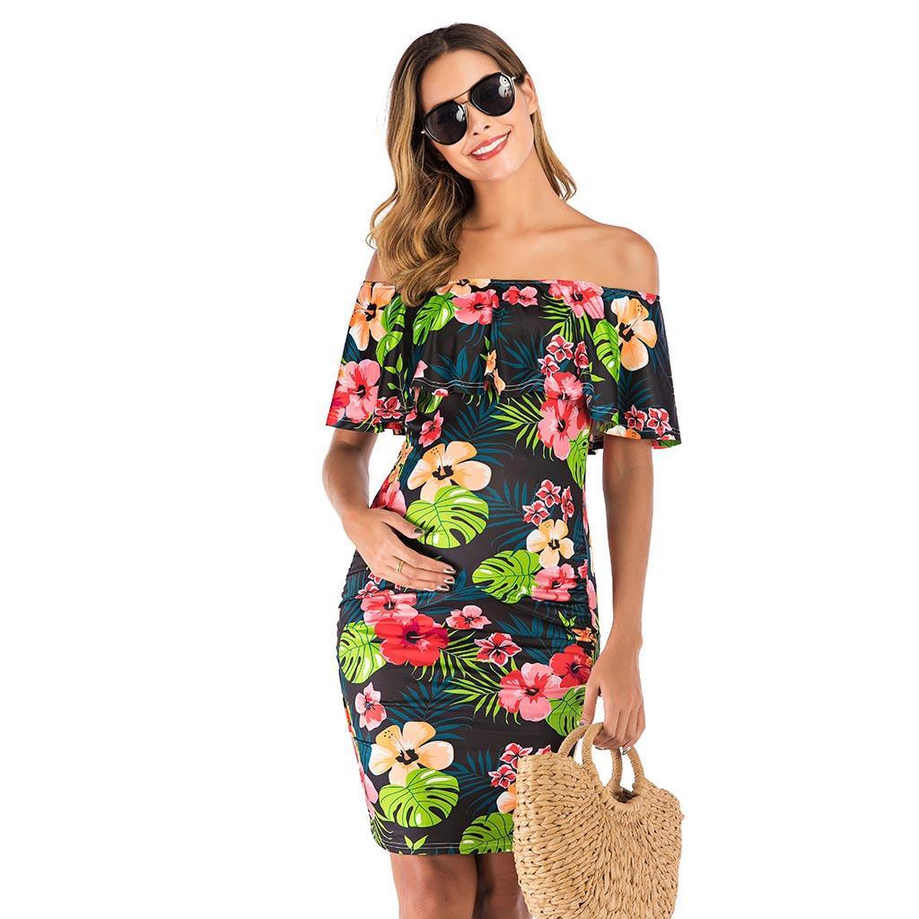 Women Maternity Dresses For Baby Showers Shoulderless Print Elegant Summer Nursing Dress Pregnancy Clothes Vetement Femme 19jun