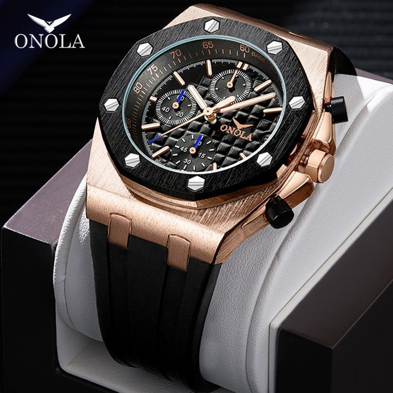 ONOLA marka moda rahat kuvars erkek erkekler için kronograf fonksiyonlu kol saati tüm siyah altın metal su geçirmez izle