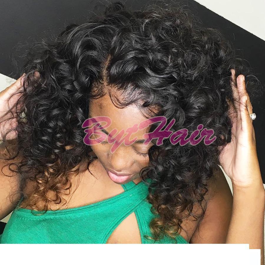 Дизайнер Bythair бразильский странный вьющиеся полный шнурок wigss человеческих волос для черных женщин отбеленные узлы glueless кружева передние wigss с